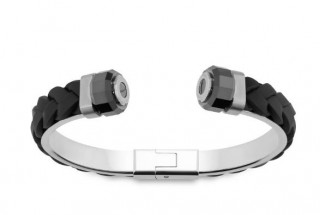 Bracelet Homme Swaroski; Revolution Black Leather