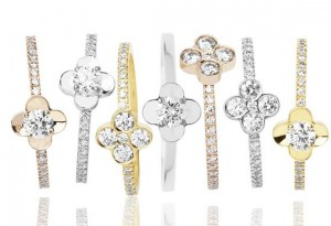 Collection Fleuri, Or Jaune, Gris, Rose et Diamants