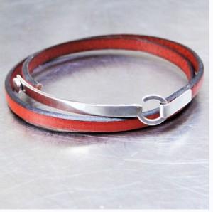 Bracelet en cuir et argent, Gilbert Gilbert