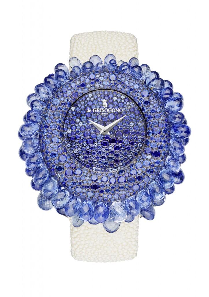 Grappoli Or gris sertie saphirs bleus taille brillant et briolette, grains rhodiés noir - cadran serti neige saphirs bleus - fond serti saphirs bleus - quartz - bracelet galuchat - fermoir or gris  serti saphir p