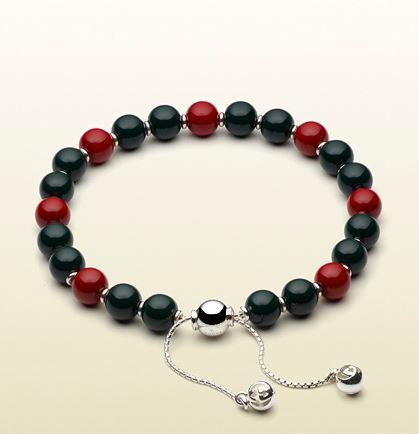 Bracelet Argent Gucci Perles Bois Rouge et Vertes