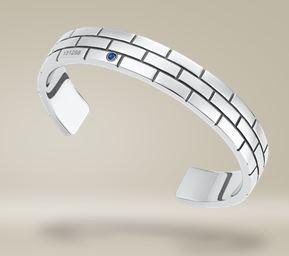 Bracelet en acier poli, et Saphir Bleu, Mont Blanc