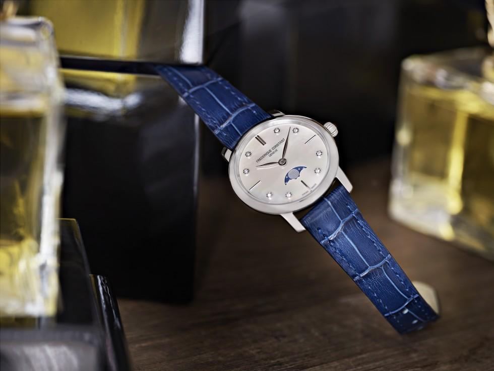 Frederique Constant - Slimline Moonphase, Boîtier Acier, Bracelet Cuir Bleu